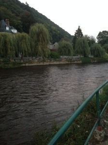 The lovely Ourthe River in Aywaille.  I was lucky not to end up floating there after mocking a kickboxing champion teenage girl in tap class.