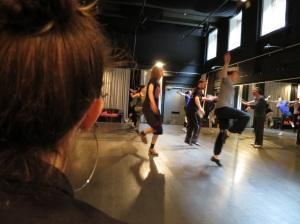 Dancers jump through hoops while I preach calm and Michelle actually sits still....
